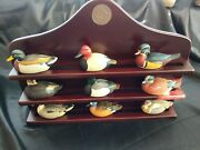 Ducks Unlimited Jett Brunet 12 Mini Decoys Collection And Wood Display Shelf