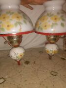 Gorgeous Pair White Painted Glass Flower Wall Sconces Electric Lamp Hurricane