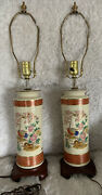 Pair Of Vintage Ceramic Murray Feiss Chinoiserie Lamps Signed Mint