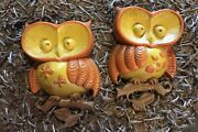 1970and039s Vintage Pair Of Sexton Owls Wall Hanging Plaque Metal Yellow/brown/orange