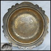 Old Islamic Persia Egypt Cairoware Arabic Calligraphy Middle Eastern Brass Plate