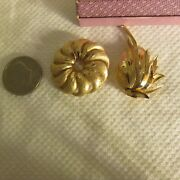 Crown Trifari Pins Brooches Pair Gold Tone Brushed Shiny Alfred Philippe Signed