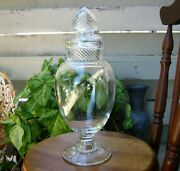 15 Antique Swirl Glass Apothecary Jar And Lid Candy Store Pharmacy Jar