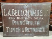 Antique Painted Copper Trade Sign Piano Music Mercantile 19th C Advertising 1800