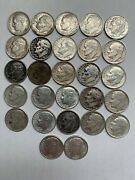 Lot Of 27 Silver Roosevelt Dimes Circulated Random Dates