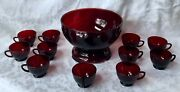 Anchor Hocking Royal Ruby Red Punch Bowl Base 11 Cups Depression Glass Vintage