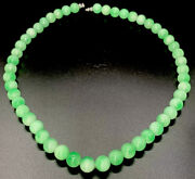 Fine Natural Handmade Icy Imperial Green Grade A Jade Stone Bead Necklace 21andrdquo