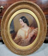 Antique English Oil Portrait Painting Young Woman In Dress 19th Century Regency