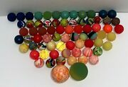 Vintage Rubber Bouncy Ball Lot Of 71x Marble Swirl Orange Red Blue Pink Green