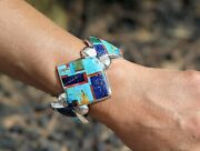 Navajo Cuff Bracelet Mosaic Turquoise Size 6.5 Heavy Silver Signed Begay Jewelry