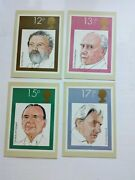 4 First Day Cover Cards 1980 Phq46 Music British Conductorsbarbirollisargent