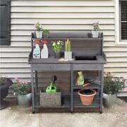Outdoor Garden Potting Bench Table W/ Sink Drawer Rack Working Planting Station