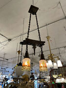 Antique Hand Hammered Arts And Crafts Two Light Ceiling Light Hand Painted Shades