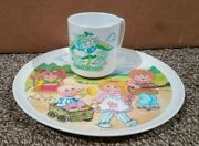 """Vtg Cabbage Patch Kids Melamine 9"""" Plate And Cup Dolls Plastic Dinnerware 1983"""
