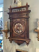 Antique Working Victorian Walnut Wall Clock With Porcelain Dial Numbers