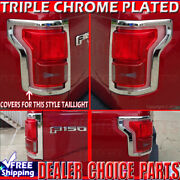 2015 2016 2017 Ford F150 F-150 Chrome Tail Light Bezel Covers Overlays 2pc L/r