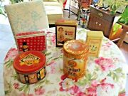 Vintage Lot Of 5 Tin Cans Uncle Ben Hungry Jack Cream Of Wheat Peanut Quakeroat