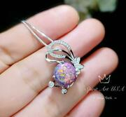Rainbow Purple Opal Butterfly Necklace - White Gold Coated Sterling Silver Purpl