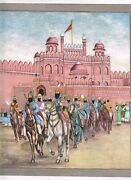 Sikh Miniature Painting Guru Gobind Singh With His Warriors At Delhi Red Fort