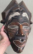 Large Old Vintage/antique Carved Wood African Tribal Mask W/bronze Copper Inlay