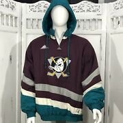 Anaheim Mighty Ducks Nhl Hockey Vintage 90s Puffer Hooded Jacket Embroidered L