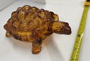 Vintage Large Turtle Wright Glass Covered Candy Dish Amber Mid Century 1940's