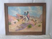 Vintage Oil Painting Native American Art Signed Kendall
