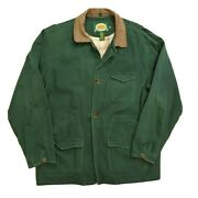 Cabelas Mens Chore Field Hunting Lined Jacket Mens Size Xl Tall Green Plaid