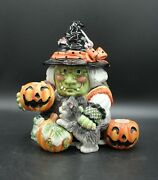 2006 Fitz And Floyd Witch 668/125 Double Candle Holder Shawl Pumpkin Cat Retired