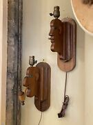 Pair Of 1940s Folk Art Wood Smoking Wall Sconces Pipe And Cigarette Caricatures