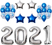 Graduation Party Supplies 2021 Decorations Kit Silver Balloons Blue And Set
