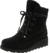 Womens Size 9 Bearpaw Krista Water Resistant Black Suede Lace Up Wedge Boots