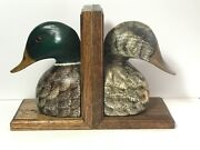 Max Thompson Carved Wood Mallard Duck Decoy Hand Painted Bookends 1986