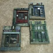 Chiu Tak Hak French Paris Store Fronts Set Of 4 Resin 3d Art Wall Plaques