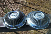 Oe Vintage Pair Of Ratty Unrestored 1963 Chevy Impala Ss Z71 Dog Dish Hubcaps