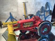 Marx Tractor Tin Litho Tractor And 3 Implements With Tin Litho Wheels