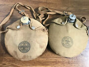 Two Vintage Boy Scouts Of America Canteens Aluminum Metal With Cover And Strap