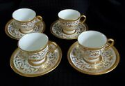 4 Crown Cowell And Hubbard England 22k Gold Fret Work Diamond Band Demitasse Cup And