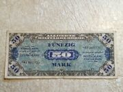 1944 Wwii Germany Allied Occupation Military Currency 50 Mark Banknote