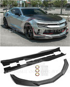 For 16-18 Camaro Rs   Zl1 Style Carbon Fiber Front Lip Splitter And Side Skirts