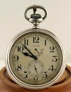 Antique Longines Wwi Us Navy Deck Watch W/wind Indicator In Silver Case Nice