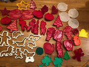 45 Vtg Plastic Cookie Cutters Red Tupperware Loma Girl Scout Grimace Hallmark