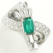 Platinum 900 Ring 12 Size Emerald 0.62 Diamond About12.7g Free Shipping Used