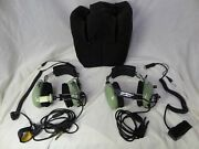 2 David Clark Pilot Headsets H10-40 And H10-30 Telex Pt-300 Carry Bag -untested