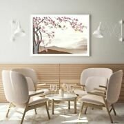 Pink Flower Tree And Birds Painting Print Premium Poster High Quality Choose Sizes