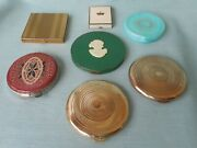 Vintage Lot Of 7 Ladies Makeup Powder Compacts Coty Rexall