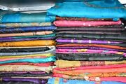 Lot Of 5 To 100 Traditional Vintage Embroidery Saree Pure Silk Fabric Craft Sari