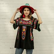 Mexican Hand Embroidered Peasant Top Black Floral Multicolor Boho Hippie Frida