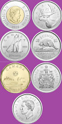 Complete Set Of 7 2021 Canada Coins.2 1 50c 25c 10c 5c Mint Unc Toon Loon