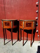Beautiful French Louis Xv Inlaid Drum Line Mahogany Nightstands Side Tables